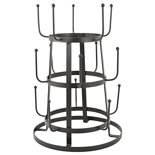 MyGift Vintage Rustic Brown Iron Mug/Cup/Glass Bottle Organizer Tree Drying Rack Stand
