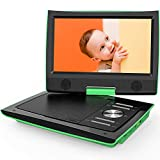 "ieGeek 11"" Portable DVD Player with Dual Earphone Jack, 360° Swivel Screen, 5 Hrs Rechargeable Battery, Supports SD Card/USB/CD/DVD and Region Free, Remote Controller, Green"