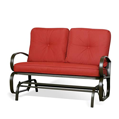 Ulax Furniture Outdoor Loveseat Patio Swing Glider Bench Chair with 100% Olefin Cushion (Red)