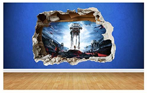 Autocollant mural pour chambre d'enfants en vinyle et en style 3D de la bataille de Star Wars., Vinyle, Large: 80cm x 58cm