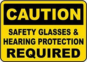 Warnschilder für Gehörschutz und Sicherheitsbrillen im Privatbesitz, aus Metall, 20,3 x 30,5 cm