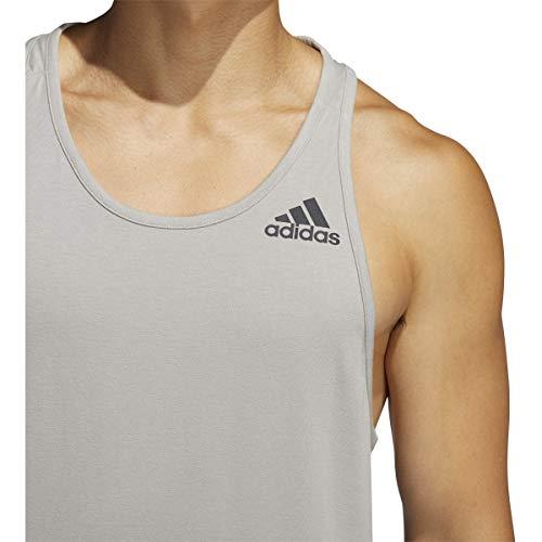 Camiseta de tirantes Adidas para hombre con insignia de deporte clásico (gris, pequeña)