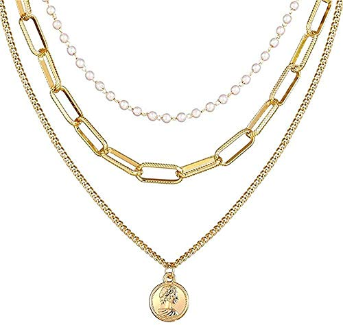 BACKZY MXJP Collar Vintage Gold Portrait Pearl Collares Pendientes para Mujer Bohemia Pearl Collar Largo Joyería