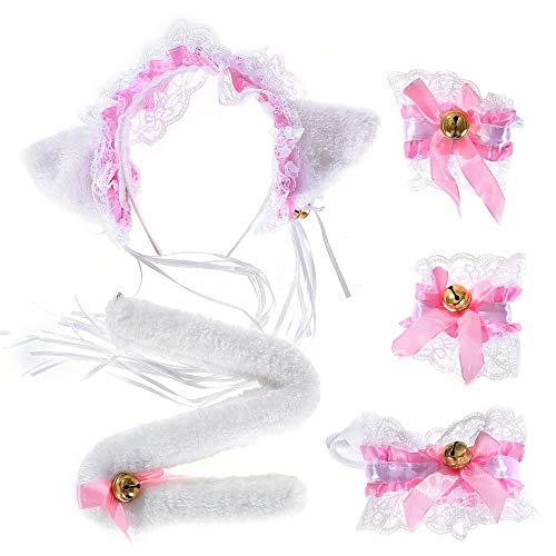 KEESIN 5 piezas mujeres nias lindo disfraz de cosplay encaje gato gatito orejas diadema corbatas pulseras y cola para carnaval halloween fiesta de navidad (Pink)
