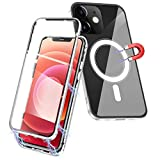 Cover Magnetica Compatibile con iPhone 12 Mini 5.4', con Magsafe Cover Vetro Temperato Adsorbimento Magnetica Full Body Custodia, Cover 360 Compatibile con iPhone 12 Mini 5.4' - [Argento]