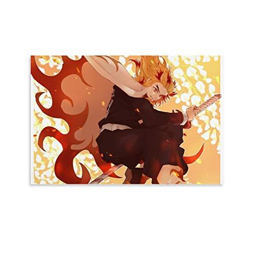 DRAGON VINES Póster de anime demonio slayer Rengoku Kyoujurou en llama, impresión en lienzo, impresión artística para pared para sala de estar, oficina en casa, 20 x 30 cm