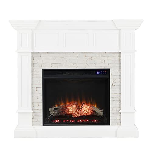SEI Furniture Merrimack Corner Fireplace, New Fresh White