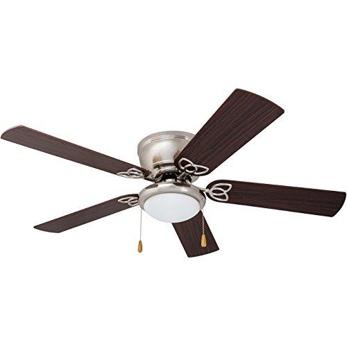 "Prominence Home 51428 Benton Hugger/Low Profile Ceiling Fan, 52"" Walnut/Maple Blades, LED Globe Light, Brushed Nickel"