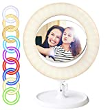 Cyezcor 14' Ring Light with Mirror,Adjustable RGB Rainbow Ring Light, for Live/Makeup/Self-Timer Photo/Video