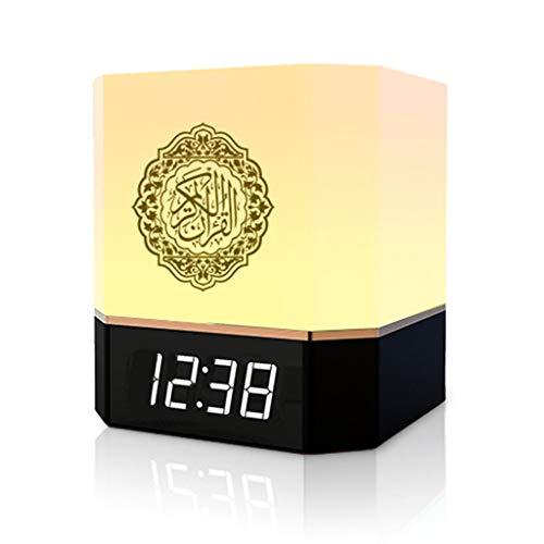 Mikiya Bluetooth-Lautsprecher, kabellos, Fernbedienung, LED, Nachtlicht, intelligent, APP, digitale Steuerung AZAN Uhr mit Koran Empfang, Übersetzung, muslimisches Geschenk