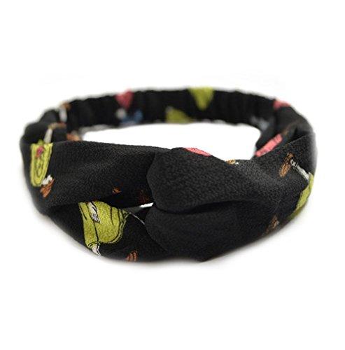 Outflower Croix élastique Cheveux Band Bandeau pour Femme Accessoires Cheveux en Forme de Nœud Croix Bandeau Cheveux élastique Turban, Noir, 22*6cm