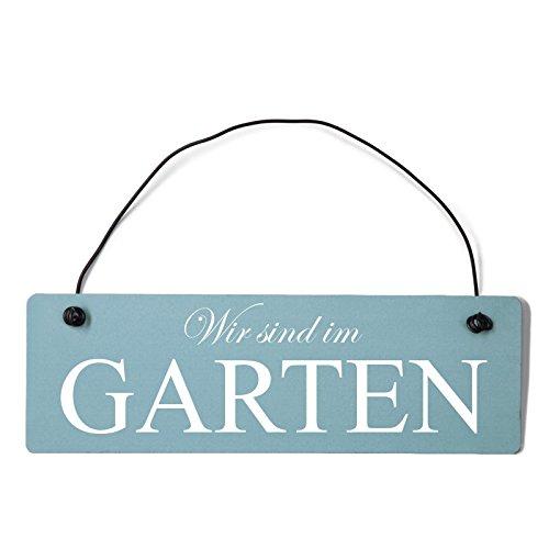 Deko Shabby Chic Schild Wir sind im Garten Vintage Holz Türschild in hellblau mit Draht