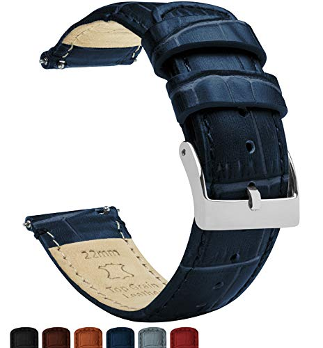 22mm Navy Blue - Standard Length - Barton Alligator Grain - Quick Release Leather Watch Bands