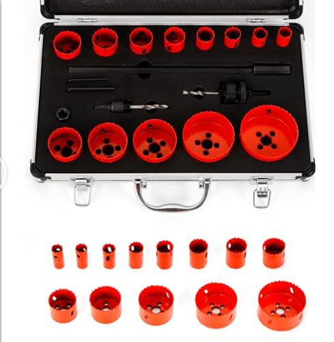 RainWeel Juego de 17 sierras perforadoras bimetálicas con maletín de 19-76 mm para acero inoxidable, aluminio, bronce, cobre, PVC, acrílico y madera