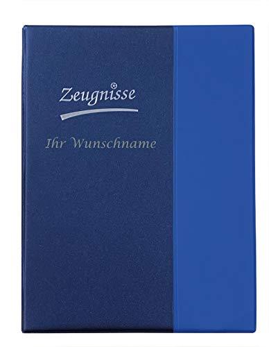 Zeugnismappe mit Gravur / Zeugnisringbuch A4 mit 10 Hüllen /Farbe: metallic blau
