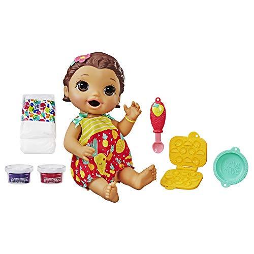 Boneca Baby Alive Lanchinhos Divertidos Morena - Com 6 acessórios e comidinha - E5842 - Hasbro