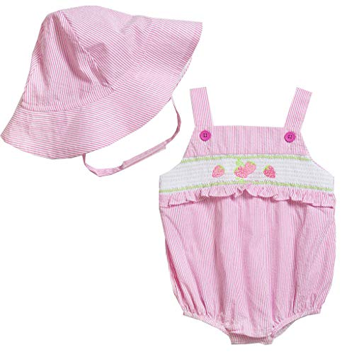 Good Lad Newborn/Infant Girls Seersucker Smocked Bubble with Embroidery and Matching Seersucker Hat (18M, Pink)