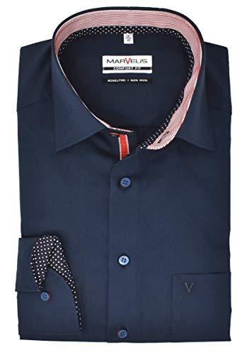 Marvelis Herren Businesshemd Comfort Fit Kent Kragen Langarm Einfarbig Dunkelblau, Größe:42
