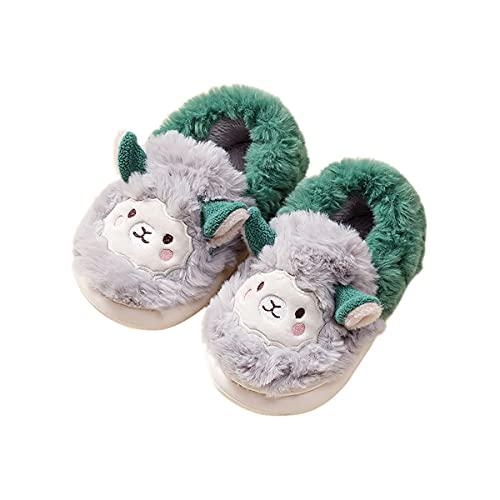 Boys Girls Llama Animals House Slippers Fuzzy Warm Alpaca Slippers Toddler Kids Indoor Bedroom Shoes(Grey Llama,4-5 Toddler)