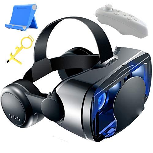 LPWCAWL VR Brille, 3D Virtual Reality Box, Mobile Virtual Reality Viewer mit Bluetooth Controller und Headset, 120° FOV, Verstellbares Objektiv, Geeignet für 5,0 Bis 7,0 Zoll Smartphones