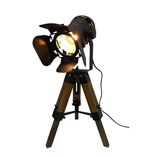 WEIJINGRIHUA Lámpara de Escritorio Lámpara de Mesa de Madera de época Industrial trípode, Altura Ajustable, Abrir y Cerrar, con Interruptor de iluminación