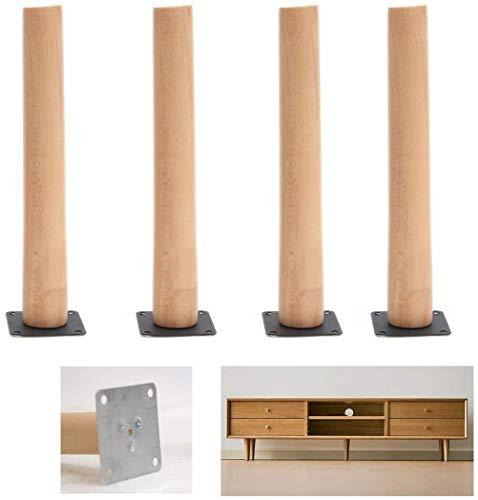 4pcs Piernas muebles de madera maciza, Patas de la Base for el sofá, mesa de café Piernas de repuesto, patas de haya del gabinete, recto cono, for la TV Sofá cama Sillón Tablas, con tornillos de monta