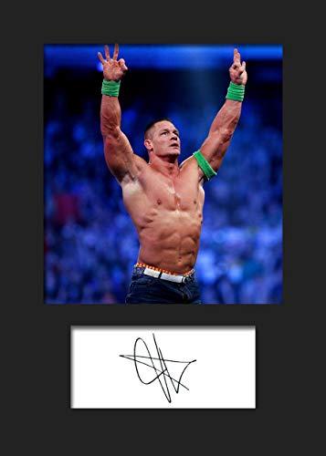 FRAME SMART John Cena WWE #2 | Foto montada, reimpresión de Firma | Tamaño A5 para Marcos de 6x8 Pulgadas | Máquina Cortada | Exhibición de la Foto | Presente, Regalo, Coleccionable