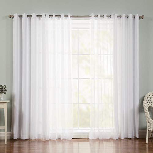 White Sheer Curtains 63 Inch Length for Bedroom Decor 2 Panel Set Grommet Drape Semi Transparent Light Filtering Window Curtains for Kitchen Farmhouse Living Room Small Windows