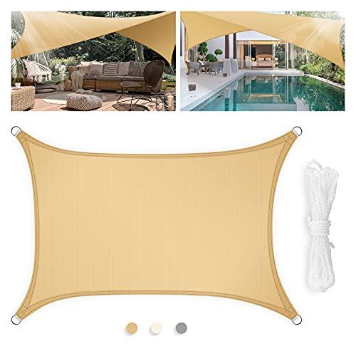 Levesolls Tenda a Vela Parasole Rettangolare 4×3m Telo da Sole Esterno Vela Ombreggiante in HDPE, Impermeabile/Antivento/Protezione UV, Sabbia
