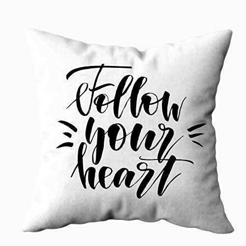 Fodere per cuscini Cuscino per la casa Morbido divano per la casa Fodere per cuscini decorativi Douecilsh Segui il tuo cuore Scritto a mano Calligrafia moderna Isolato Bianco Doppio stampato, Giallo a