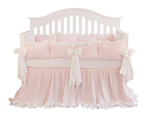 Blush Coral Pink Ruffle Crib Bedding Set Baby Girl Bedding Blanket Nursery Crib Skirt Set Baby Girl Crib Bedding Sheet LT Coral 3 Pieces Set