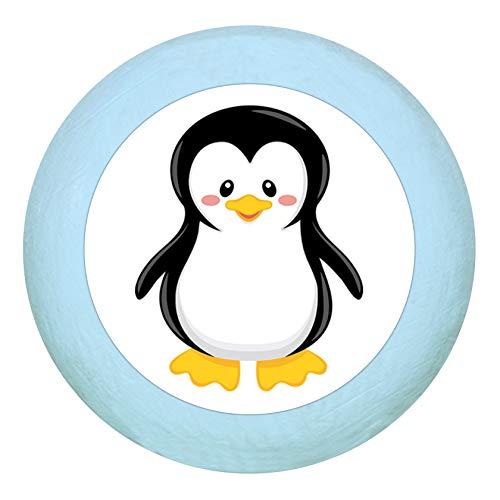 """Holz Buchegriff""""Pinguin"""" hellblau zartblau pastellblau pastell Holz Buche Kinder Kinderzimmer 1 Stück wilde Tiere Zootiere Dschungeltiere Traum Kind"""