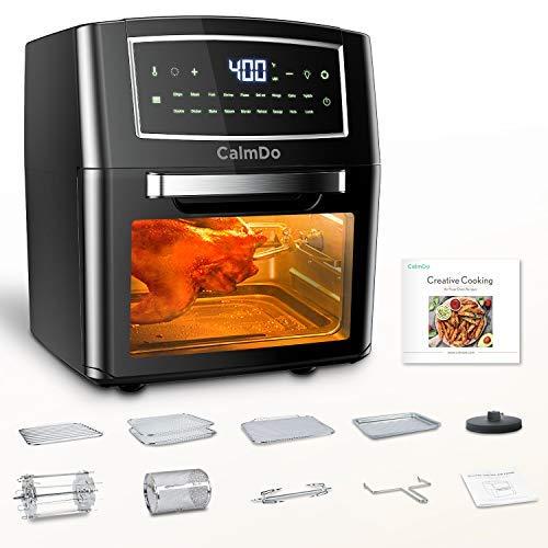 CalmDo Heißluftfritteuse 12L XXL Friteuse Heissluft, Airfryer Mini Backofen mit 18 Programme, Fritteuse Air Fryer, Dörrgerät, 1500W Digitalen LED-Display mit 10 Zubehör und Rezeptheft, Schwarz