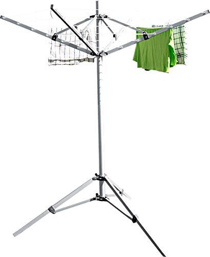 Berger mobile Wäschespinne zum Camping Wäscheständer Alu Sat-Stativ 15,5 m Leine