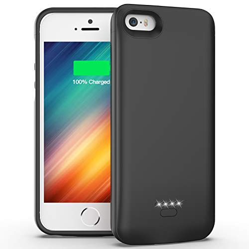 iPhone SE 5 5S Battery Case, 4000mAh Protective Charging Case for iPhone SE (2016 Edition)/5S/ 5,Portable Rechargeable Extended Battery Charger Case (4.0 inch) (Black)