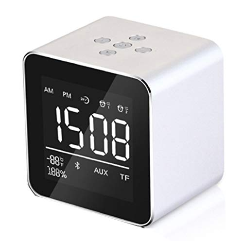 Reloj Despertador Digital, Relojes De Alarma De Radio De Cabecera Bluetooth Inteligentes, Dualbocina, Repetición, AUX-IN, Pantalla De Temperatura, Carga USB,Blanco