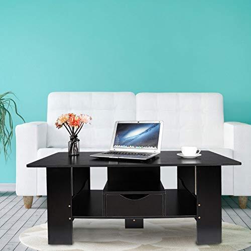 Greensen salontafel houten woonkamer tafel met lades grote bijzettafel moderne salontafel salontafel houten tafel tafel tafel tafel tafel console tafels voor woonkamer slaapkamer kantoor, zwart