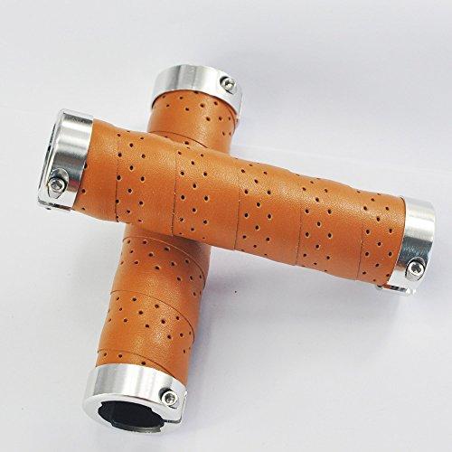UPANBIKE Fahrrad Griffe Ergonomisches Design Fahrrad Ledergriffe Passend für 22,2 mm Lenkergriffe(EIN Paar,Khaki) - 3