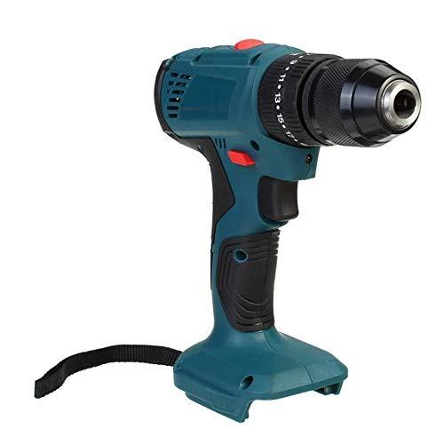 Práctico 18V 21V 95nm 10 mm 3 en 1 Tornillo de martillo de taladro eléctrico de impacto con taladro inalámbrico de luz LED para batería Makita fácil de usar (Color : Blue)