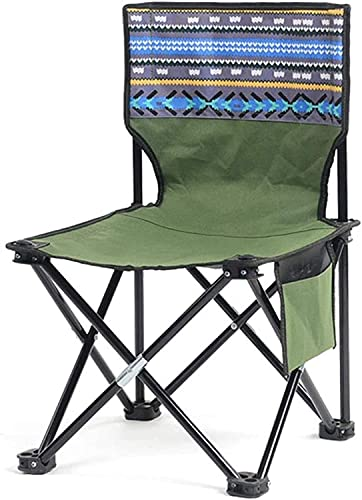 MUZIDP Playa Camping Silla Plegable Plegable Camp Portable Silla con Bolsa Lateral, para mochilero, Senderismo, Picnic, Pesca, Parque, Festival, al Aire Libre, Playa, etc. (Color : Green)
