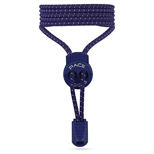 ALPHAPACE Pace Locks Elastische Schnürsenkel, Schuhbänder ohne Schnüren, Slip-on Schnellverschluss für Sport, Jugend & ältere Menschen, 120 cm, 1-Paar in Dunkelblau