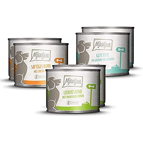MjAMjAM - Premium Nassfutter für Hunde - Mixpaket 1 - Huhn & Ente, Rind, Pute, 6er Pack (6 x 200 g), getreidefrei mit extra viel Fleisch