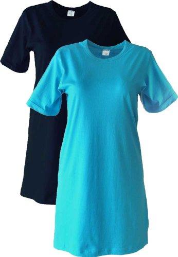 AdoniaMode Damen Nacht-Hemd Doppelpack Nachtkleid Sleepshirt Nachtwäsche nightware Rundhals Kurzarm Big-Shirt, Gr. 36/38 Blau/Türkis Gr.36/38