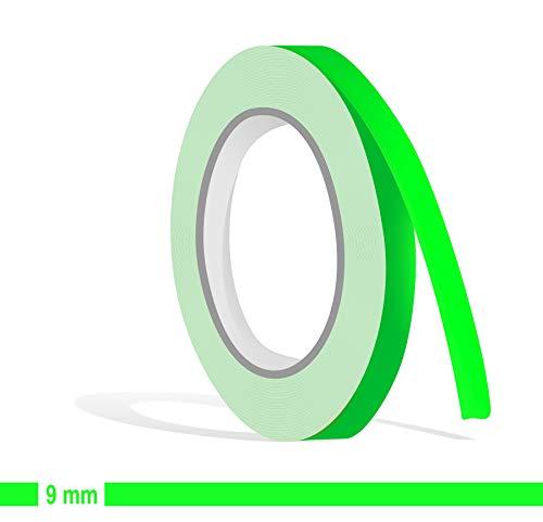 Siviwonder Zierstreifen neon grün in 9 mm Breite und 10 m Länge für Auto Boot Jetski Modellbau Klebeband Aufkleber Dekorstreifen neongrün Fluor