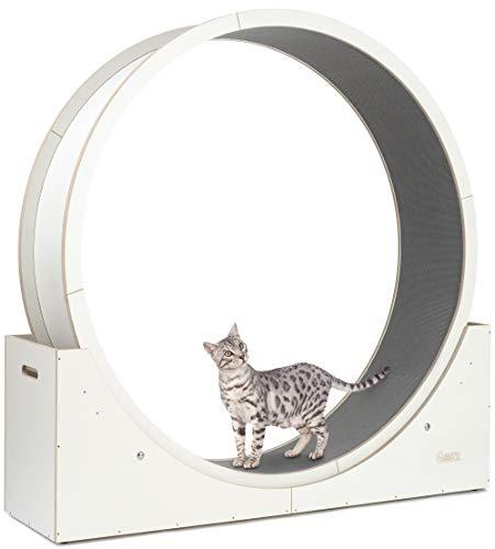 Elmato 10702 Simba L Roue pour chat entièrement montée Qualité allemande stable, blanche, tapis gris env. 120 cm