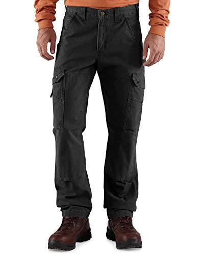 Carhartt, pantaloni da lavoro da uomo in cotone antistrappo, vestibilità comoda, tinta unita, W36/L34, Nero , 1