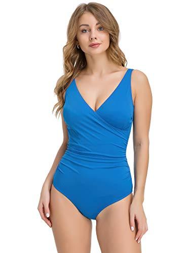 Levitex One Piece Plus Size Wrap Front Swim Suit (40 (M)) Blue