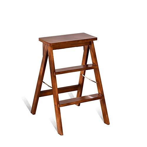 Xiao Jian multifunctionele ladder, robuuste kruk, trap, inklapbaar, van hout, 3 treden, voor kleine keuken, stap, stoel, kruk, klapstoel