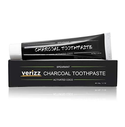 Verizz actieve kool tandpasta voor wittere tanden | Tanden bleken en tanden witter maken met deze zwarte tandpasta met kokosnoot en koolstofpoeder | Houtskool tandpasta voor het reinigen en bleken van tanden.