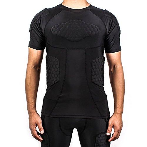 Body Safe Guard Compresión acolchada Deportes Manga corta Camiseta protectora Hombro Rib Costilla Protector Traje para fútbol Baloncesto Paintball Rugby Parkour Extreme Exercise